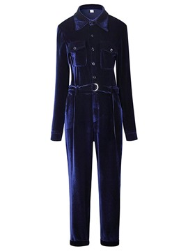 Ericdress Blue Suede Wide Leg Women's Jumpsuit