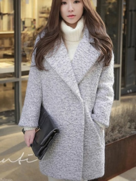 Ericdress Notched Lapel Plain Mid-Length Thick Coat