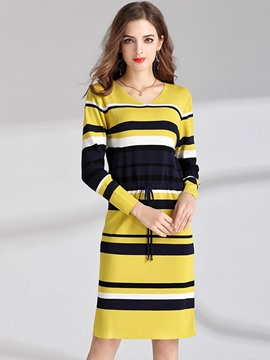 Ericdress V-Neck Stripe Lace-Up Sweater Dress