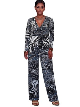 Ericdress Loose Wide Leg Print Long Sleeve Women's Jumpsuit