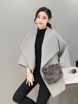 Ericdress Loose Plain Fur Mid-Length Coat