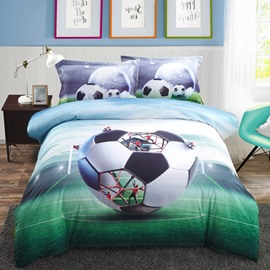 Vivilinen 3D Creative Structure of Soccer Printed Cotton 4-Piece Bedding Sets/Duvet Covers