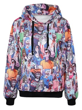 Ericdress Loose Print Cartoon Cool Hoodie