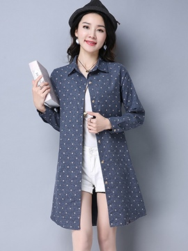 Ericdress Lapel Polka Dot Mid-Length Blouse