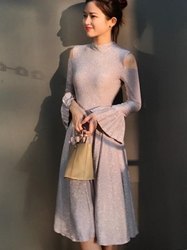 Ericdress Cold-the-Shoulder Flare Long Sleeves A-Line Dress