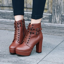 Ericdress Buckle Cross Strap Plain High Heel Boots
