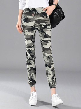Ericdress Camouflage Lace-Up Women's Casual Pants