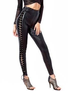 Ericdress Skinny PU Lace-Up Hihg-Waist Women's Leggings