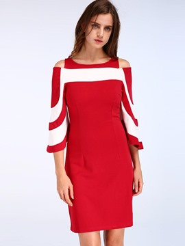 Ericdress Flare Sleeve Color Block Hollow Bodycon Dress