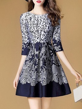 Ericdress Floral Print 3/4 Length Sleeve A-Line Dress