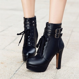Ericdress Rivet Buckle Platform High Heel Boots