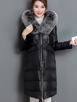 Ericdress Zipper Plain Mid-Length Fur Thick Coat