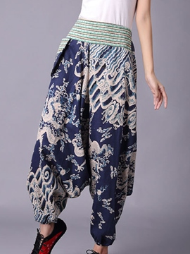 Ericdress Mid-Waist Loose Print Women's Baggy Pants