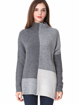 Ericdress Turtleneck Color Block Thick Knitwear