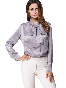 Ericdress Bowknot Single-Breasted Plain Blouse