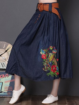 Ericdress Denim Ankle-Length Floral Embroidery Women's Skirt