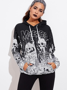Ericdress Halloween Skeleton Letter Cool Hoodie