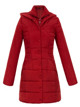 Ericdress Plain Slim Single-Breasted Coat