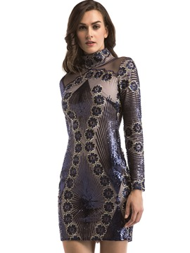 Ericdress Sequins Embroidery Stand Collar Bodycon Dress
