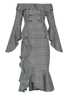 Ericdress Plaid Ruffles Skirt and Off Shoulder Tops Women's Suit