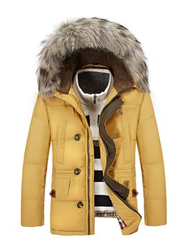 Ericdress Plain Faux Fur Hooded Zipper Men's Winter Coat