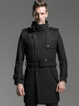 Ericdress Plain Stand Collar Single-Breasted Vogue Slim Men's Woolen Coat