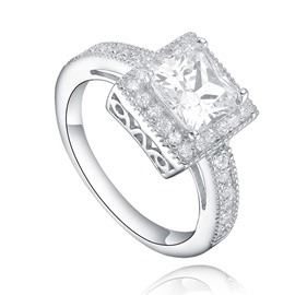 MarkChic Cushion Cut White Sapphire Created Wmen's Ring