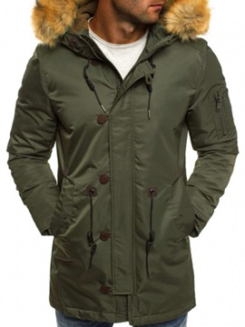 Ericdress Plain Zipper Hooded Mid-Length Men's Winter Coat
