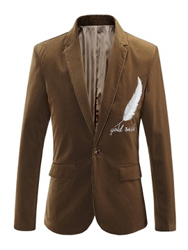 Ericdress Plain Notched Lapel Corduroy Casual Slim Men's Blazer