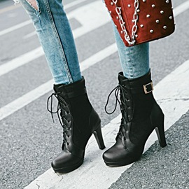 Ericdress Popular Buckle Lace-Up High Heel Boots
