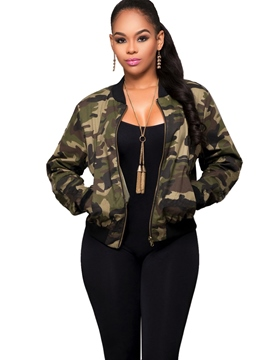 Ericdress Camouflage Zipper Short Jacket