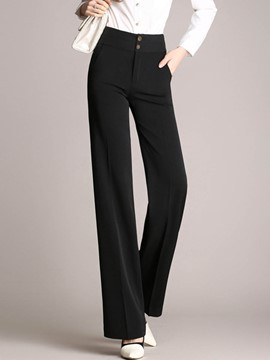 Ericdress High-Waist Wide Leg Plain Women's Dress Pants