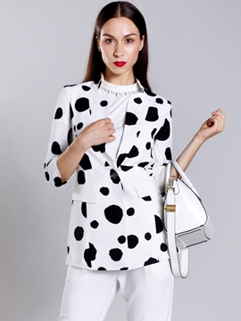 Ericdress Slim Polka Dot One Button Jacket