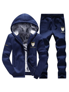 Ericdress Flocking Zipper Hooded Slim Men's Sports Suit