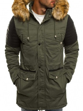 Ericdress Plain Zipper Faux Fur Thicken Warm Men's Winter Coat