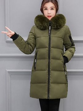 Ericdress Epaulet Thick Mid-Length Fur Collar Coat