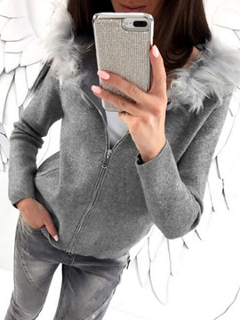 Ericdress Slim Zipper Plain Fur Neck Cool Hoodie