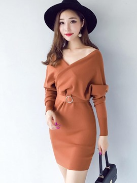 Ericdress Plain V-Neck Bating Sleeves Lace-Up Sweater Dress