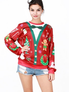 Ericdress Christmas Print Bow Loose Cool Hoodie