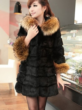 Ericdress Fur Mid-Length Plain Thick Coat