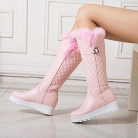 Ericdress Fuzzy Buckle Slip-On Knee High Boots