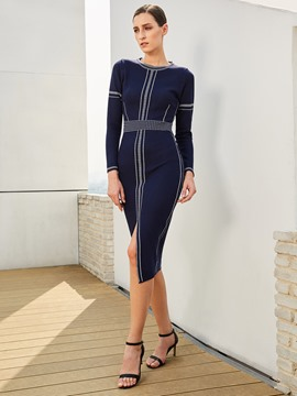 Ericdress Stripe Split Long Sleeves Sheath Dress