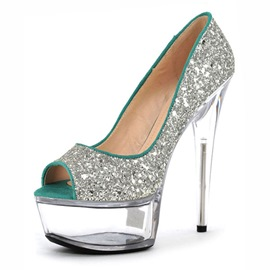 Ericdress Glittering Peep Toe Platform Stiletto Heel Shoes