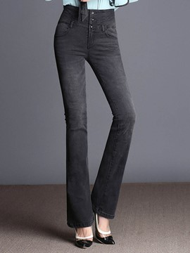 Ericdress Wide Leg High-Waist Button Women's Jeans