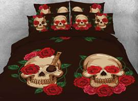 Vivilinen 3D Halloween Skull and Red Rose Printed 4-Piece Bedding Sets/Duvet Covers