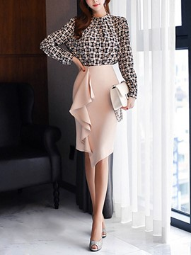 Ericdress Asymmetrical Skirt and Blouse Women's Skirt Suit