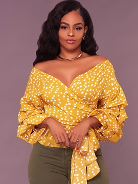 Ericdress V-Neck Polka Dot Ruffle Sleeve Blouse