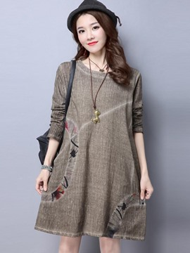 Ericdress Patchwork Long Sleeves Above Knee Casual Dress