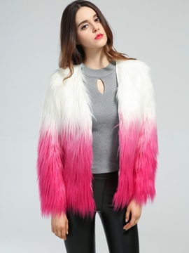Ericdress V-Neck Color Block Thick Fur Coat