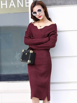 Ericdress Wave Cut V-Neck Plain Thread Sweater Dress